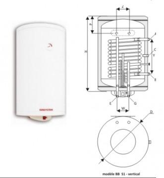poza Boiler termoelectric cu o serpentina SUNSYSTEM BB S1 200 - 200 litri