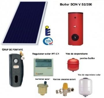 poza Pachet panou solar panou solar plan Sunsystem si boiler 200 litri pentru 3-4 persoane
