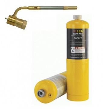 poza Pachet Arzator profesional DELKA pentru valve CGA600 + 2 Butelii gaz MAPP GAS PRO 400 gr