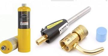 poza Pachet Arzator profesional cu aprindere DELKA pentru valve CGA600 + 2 Butelii gaz MAPP GAS PRO 400 gr